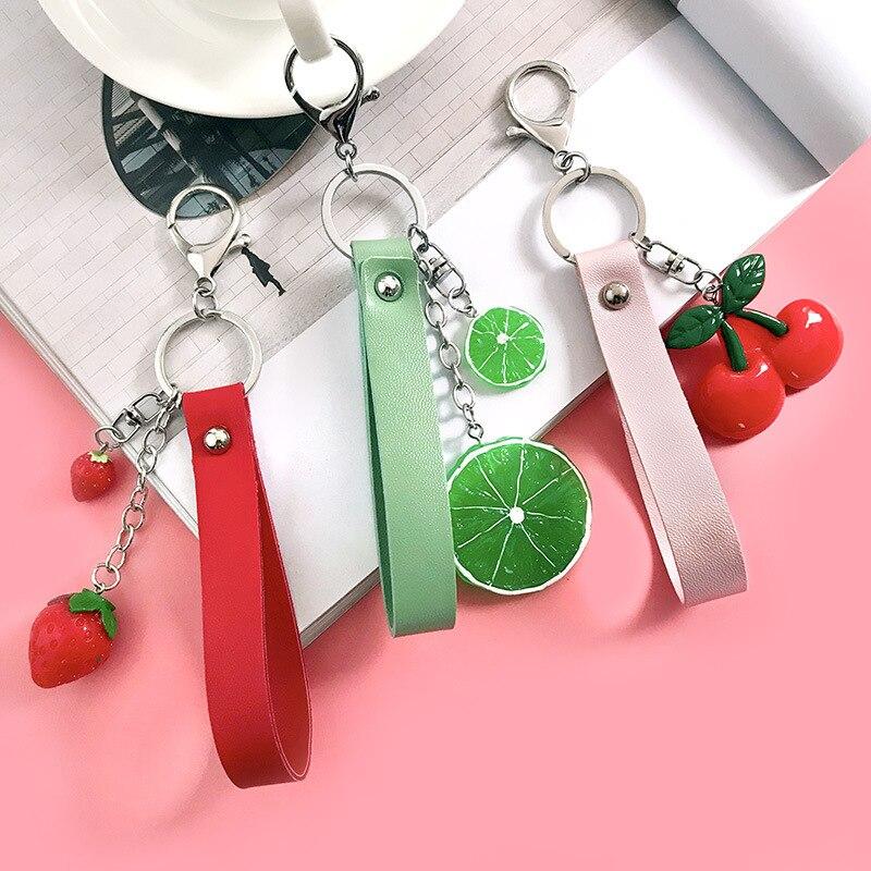 Cartoon  Fruit Key Chain Apple Watermelon Pitaya Pineapple Kiwifruit Key Rings Key Food Holder Fresh Fruit Keychains Jewelry