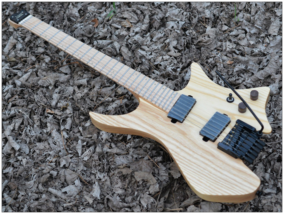 Fanned Fret guitars Headless guitar steinberger style Model natural wood Color Flame maple Neck in stock Guitar free shipping цена