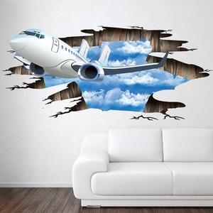 Голубое небо 3D самолет сломанной стены стикеры Гостиная Ванная комната украшения наклейки домашний Декор самолет сломанный пол наклейки