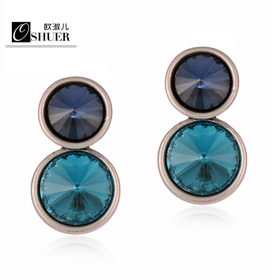 OSHUER New Fashion Korean Crystal Stud Earrings Bijoux Women Earrings Flower Fashion Jewelry for Women Accessories