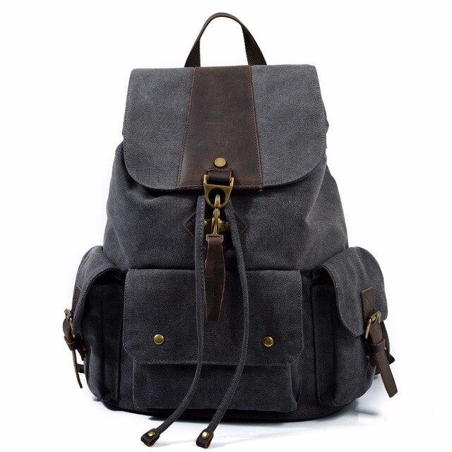 eee976d66da4 M134 New Vintage Leather Military Backpacks Men Women School Backpacks men  Travel bag big Canvas Backpack Large bag Cow Leather