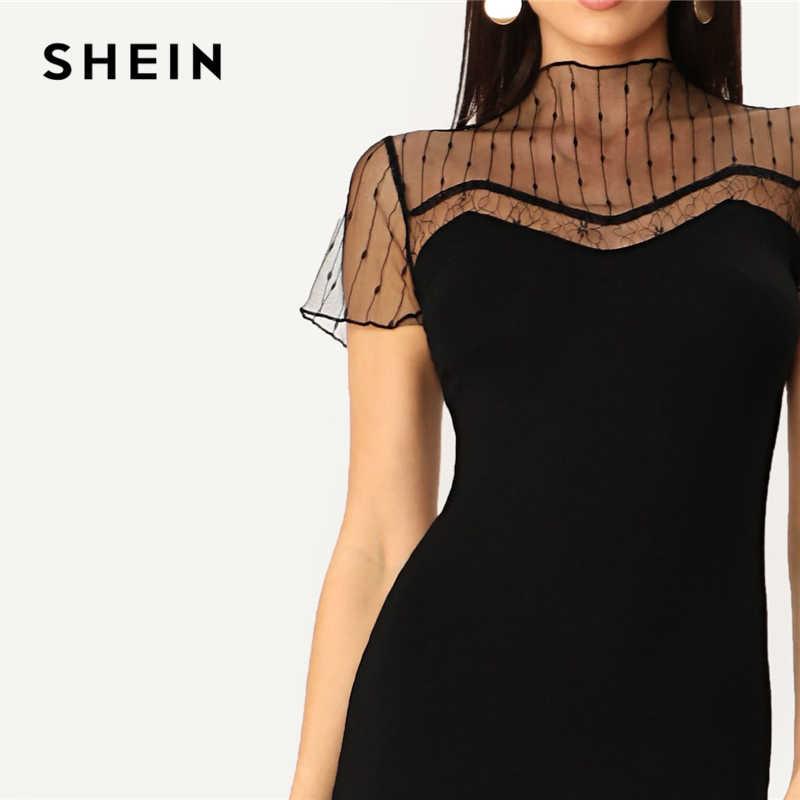 Шеин черный полосатый сетки кокетка карандаш прямые однотонное платье для женщин Повседневное Лето 2019 г. Современные леди стенд воротни