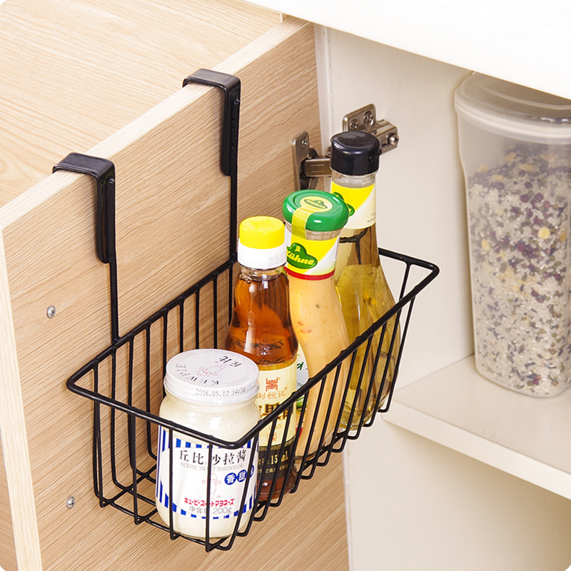 Multifunctional Iron Over Door Storage Rack Practical Kitchen Cabinet Drawer Organizer Hanger Basket