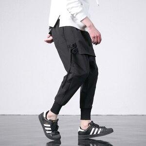 Image 3 - 新西洋ディアブロスタイルのファッション個性サイドリボンメンズジョガーヒップホップ秋カジュアルストリート男性ハーレムパンツ
