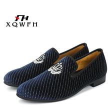 XQWFH New Style Men Blue Velvet Shoes Fashion Party and Wedding Male Dress Shoes Plus Size Men's Loafers piergitar new style men velvet shoes with hand stitch bullion embroidery party and banquet male loafers men flats size us 4 17