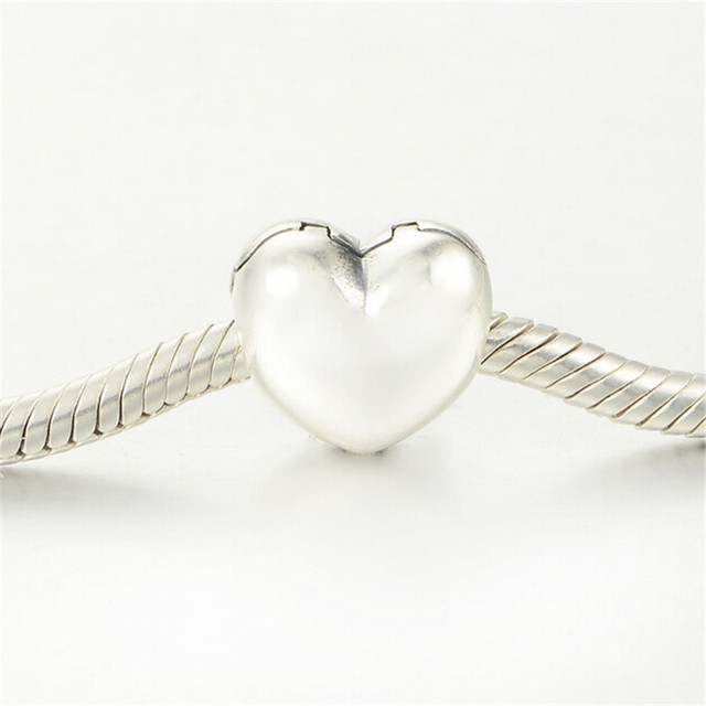 Fits For Pandora Bracelets Authentic 925 Sterling Silver Heart Clip Charm Bead Jewelry DIY Making Bead Could Open KT089-N