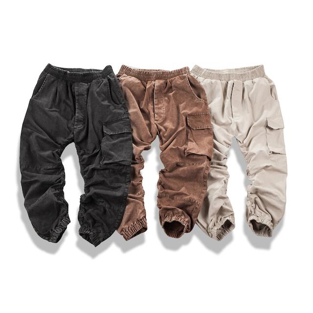 Diseño Kanye West Side Zipper Plisado Bolsillo Grande Para Hombre Hiphop Tiro Caído Joggers Pantalones Longitud del Tobillo de Japón Marca de Ropa