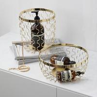Nordic Luxury Gold plated Wrought Iron Fruit Basket Debris Storage Basket Table Bread Basket Home Fruit Bowl Decoration