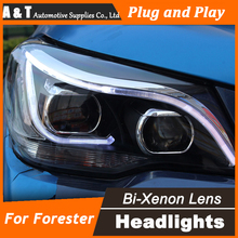 A&T Car Styling for New Forester LED Headlight 2014 Subaru Forester DRL Lens Double Beam H7 HID Xenon Car LED Light