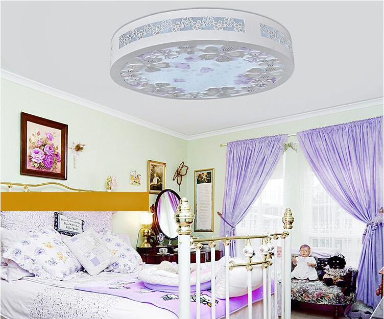 Free shipping Led Wood carving ceilling lamp Engraving Flower Bedroom lamp Acrylic lampshade ceiling Lamp 220V