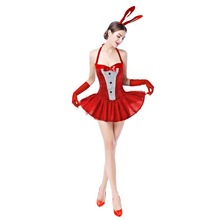 3pcs Set Women Rabbit Bunny Fancy Dress Up Halter Ear Headband Gloves Outfit for Cosplay Party Dance