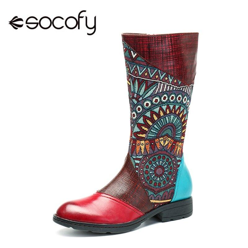 Socofy/Сапоги до середины икры ручной работы из натуральной кожи, женская обувь, винтажные богемные сапоги на плоской подошве с принтом, на мол...