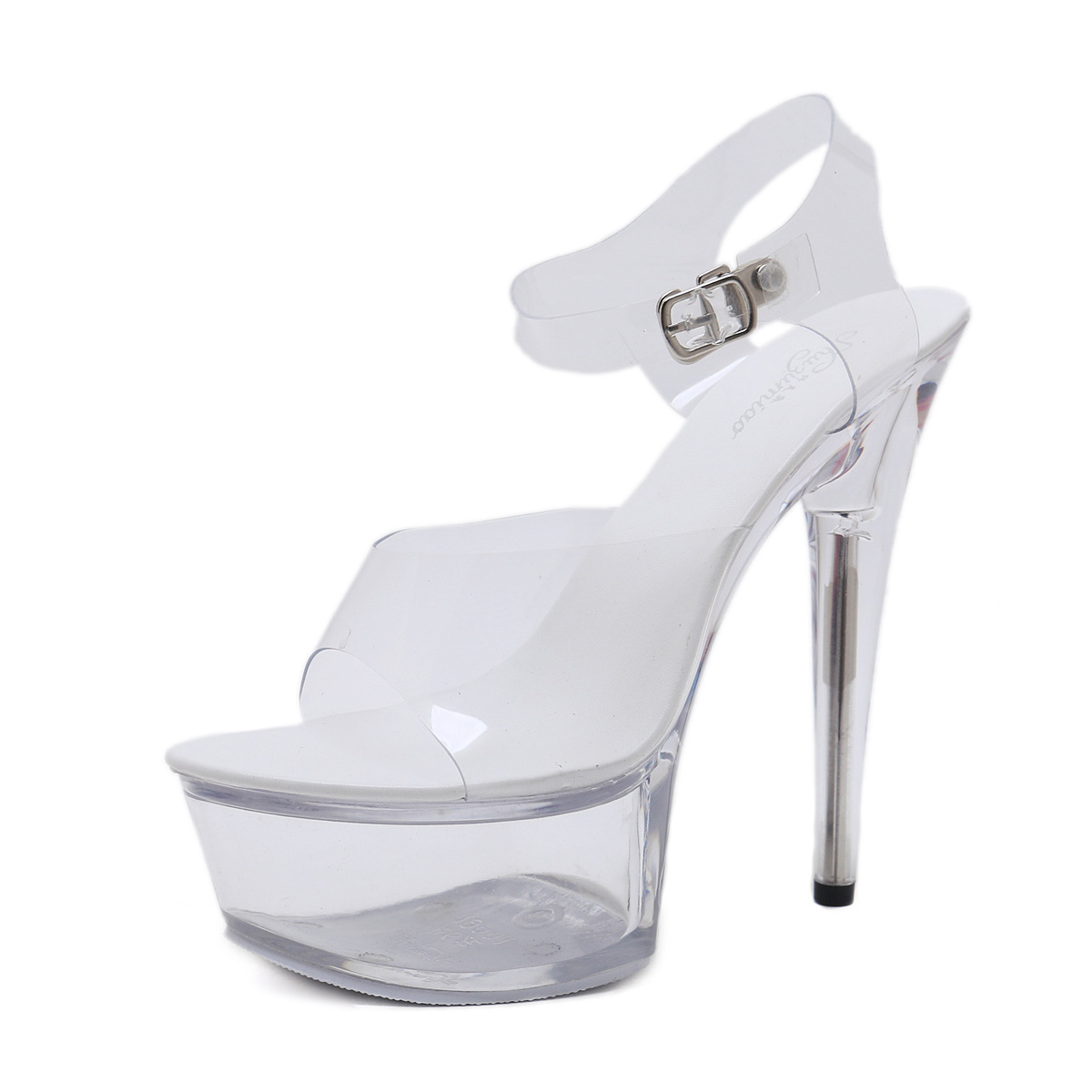 Shoes Woman High-Heels Transparent Sandals Platform Strappy Party Nightclub Clear PVC