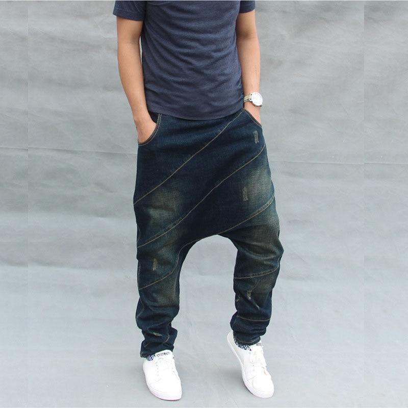 Mcikkny Fashion Men`s Baggy Hip Hop Jean Pant Loose Straight Harem Denim Trousers For Man Elastic Waist Drawstring (2)