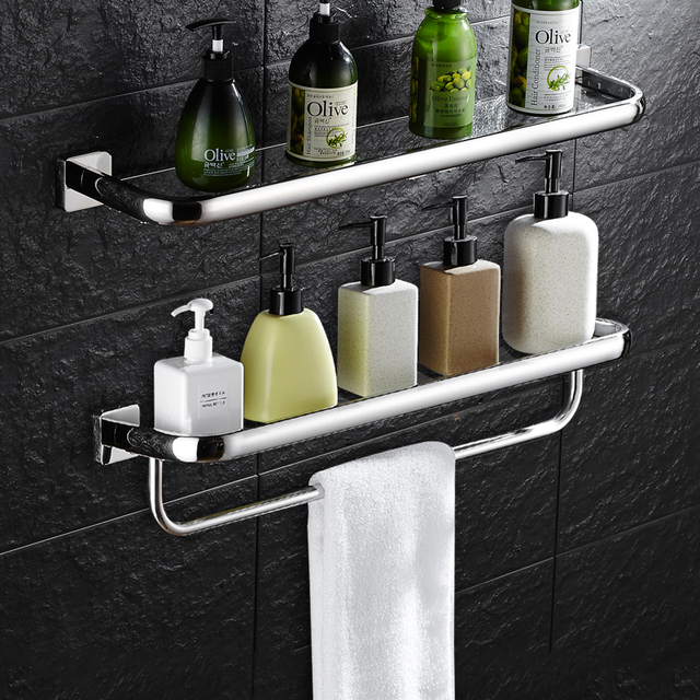 wall mounted bathroom accessories glass shelf with towel bar bathroom shelves single tier bath shelf toilet - Glass Bathroom Shelves