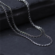 100% 925 Sterling Silver Necklace Chain 40cm to 60cm Silver Cross Chain for Men Women Sweater Chain Clavicle Chain Black Jewelry недорого