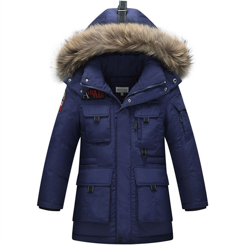 2017 Winter Boys Down Jacket Outerwear Coats Snowsuits Fashion Thick Long Raccoon Fur Collar Overcoat High Quality 130-170 snow wear 2017 high quality winter women jacket cotton coats fur collar hooded parkas fashion long thick femme outwear cm1346