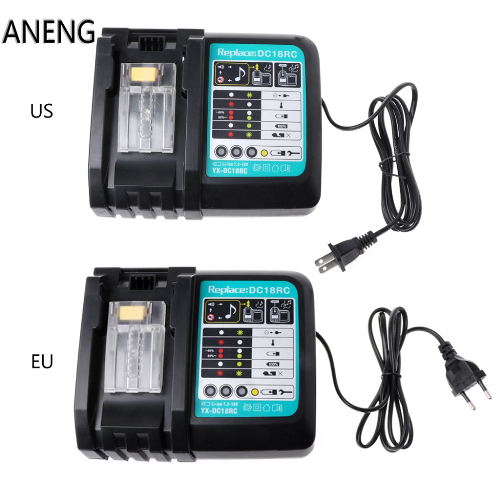 ANENG 3A Li-ion Battery Charger For Makita DC18RC BL1830 BL1815 BL1840 BL1850 14.4-18V charger for makita li ion battery bl1830 bl1430 dc18rc dc18ra dc18rct 100 240v 50 60hz