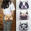 NEW Fashion 3D cachorrinho mochila de pelúcia saco da menina das mulheres, bulldog Shar Pei cão golden retriever husky, bolsa de festa meninas pacote, presente