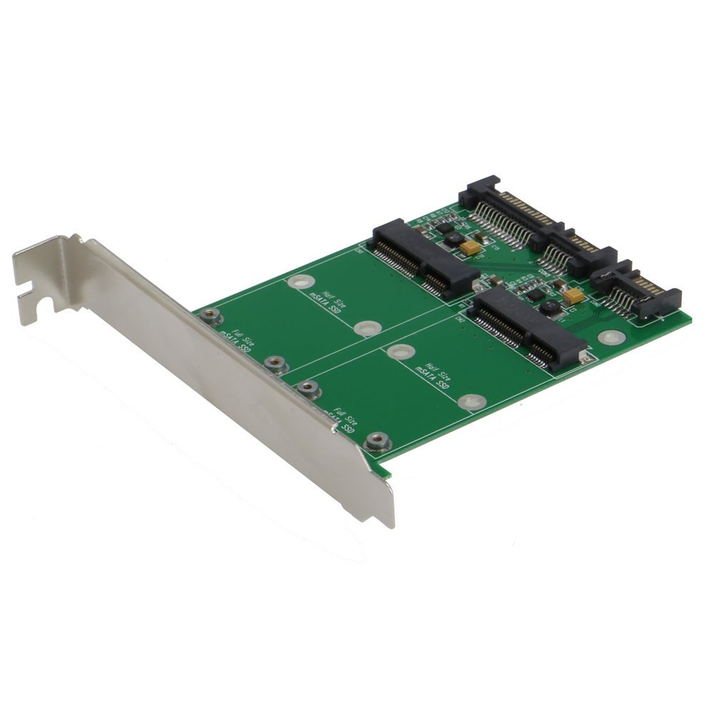 Dual Port 50mm mini PCI-E mSATA SSD to 2.5 SATA 22pin 7pin Hard Disk PCBA with PCI Bracket контроллер pci e x1 to 1port sata3 6gb s 1 port msata чип asmedia asm1061 pcie020b espada