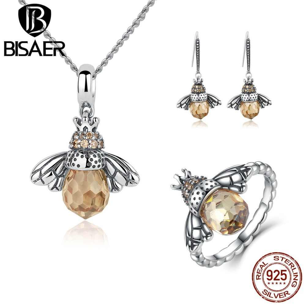 BISAER 925 Sterling Silver Cute Orange Bee Animal Pendants Necklaces & Stud Earrings & Ring Fashion Zircon Dubai Jewelry Sets