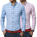 New 2017 Plaid Men Shirts Long Sleeve Brushed Cotton Shirt Slim  Soft Shirt Leisure Styles Man Clothes Blue & White & Pink