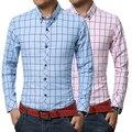 Nuevo 2017 Hombres Camisas A Cuadros de Manga Larga Camisa De Algodón Cepillado Delgado Camisa Estilos de Ocio Hombre Ropa suave Azul y Blanco y Rosa