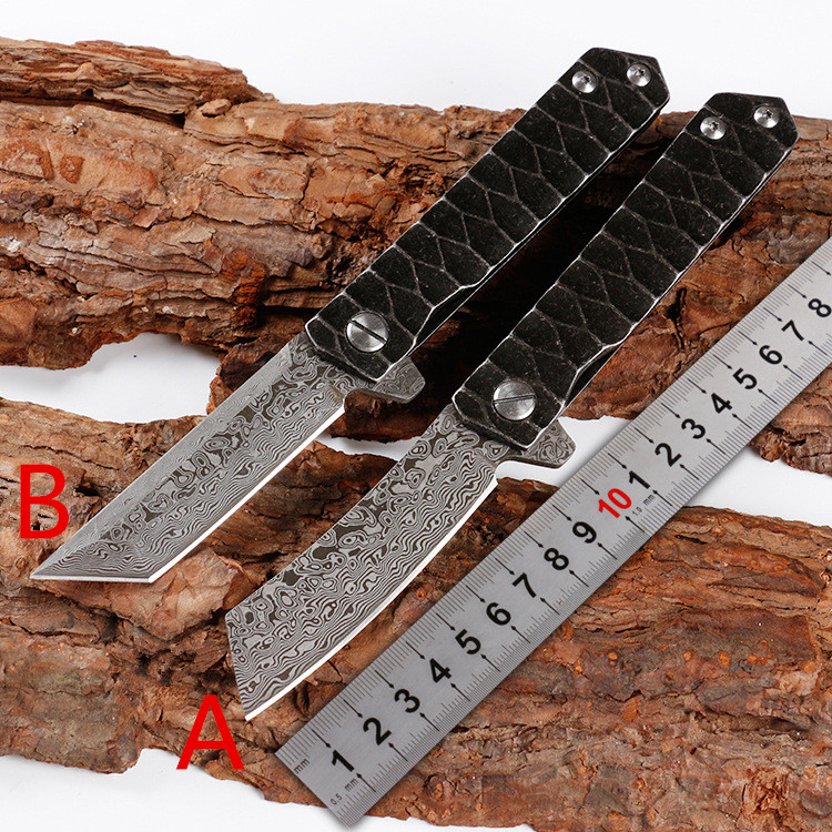Damascus Steel Folding Knife Outdoor Portable Pocket Survival EDC Tools Hunting Knives Camping travel knife купить недорого в Москве
