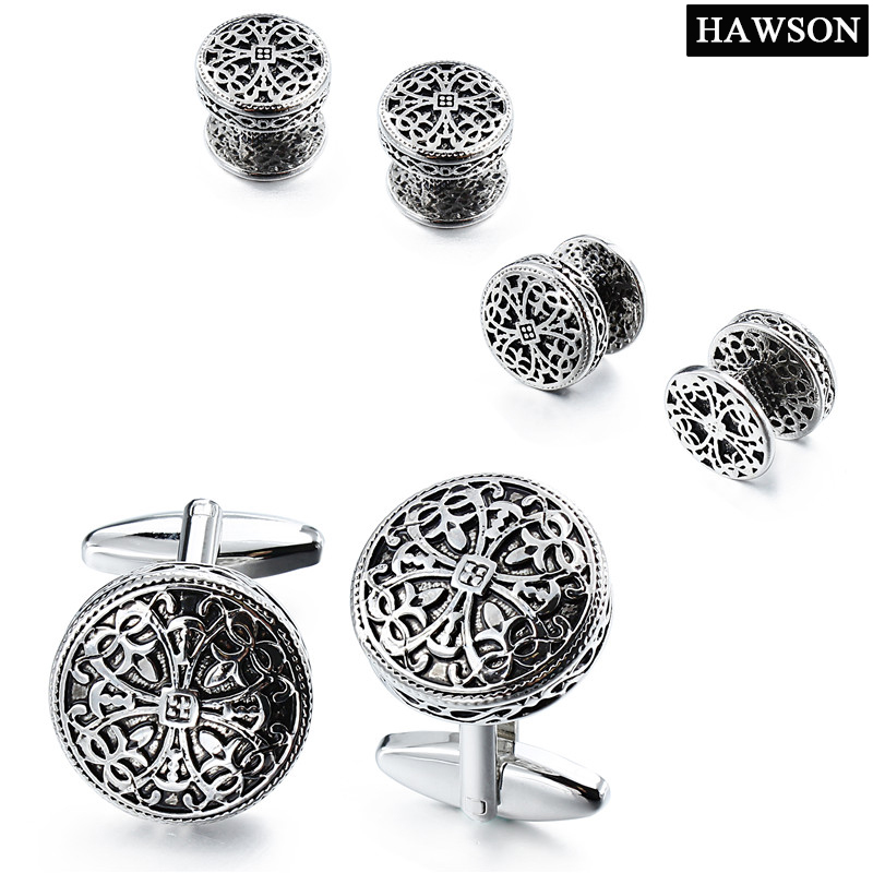 Fashion Cross Cufflinks Antique Silver Round Cuff Links Exquisite Wedding Jewelry Gift with Box javrick stainless steel silvery vintage jewelry wedding gift men s cuff links cufflinks for wedding best man usher new