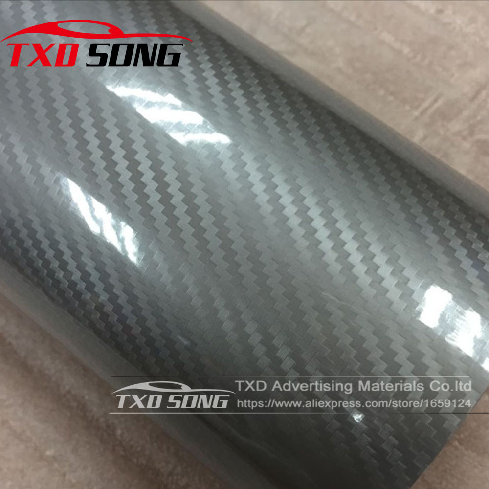 Free shipping 3 layers car styling ultra gloss silver 5d carbon fiber vinyl wrap glossy decal sticker 10 20 30 40 50 60x152cm