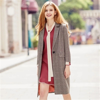 2018 New Autumn Winter Women S Long Blazer Jackets Fashion British 3 4 Sleeve Suit Overcoat