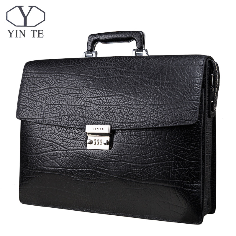 YINTE Fashion Men Briefcase Leather Men Bag Business Lawyer Briefcase High Quality 15inch Laptop Messenger Portfolio Tote T8010 yinte leather men s briefcase black bag fashion business messenger totes laptop bag ostrich prints men s portfolio t8518 6