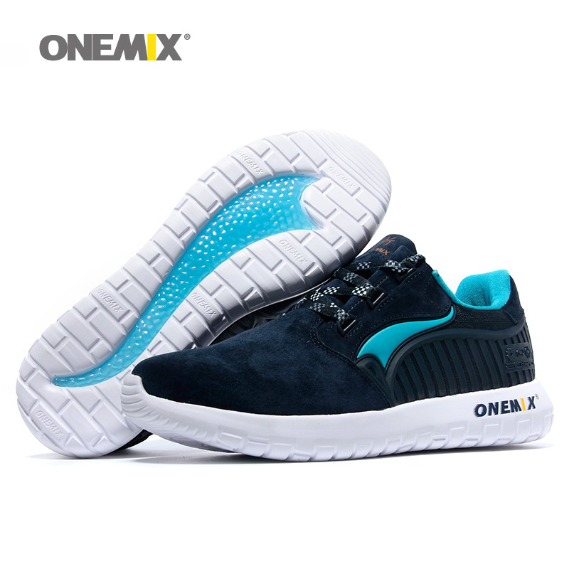 ONEMIX Man Running Shoes For Men 2017 Nice Retro Suede Run Athletic Trainers Navy Pig Skin Sports Shoe Outdoor Walking Sneakers new man running shoes for men mesh run shoe sports sneakers agan retro classic zapatillas deportivas athletic outdoor trainers