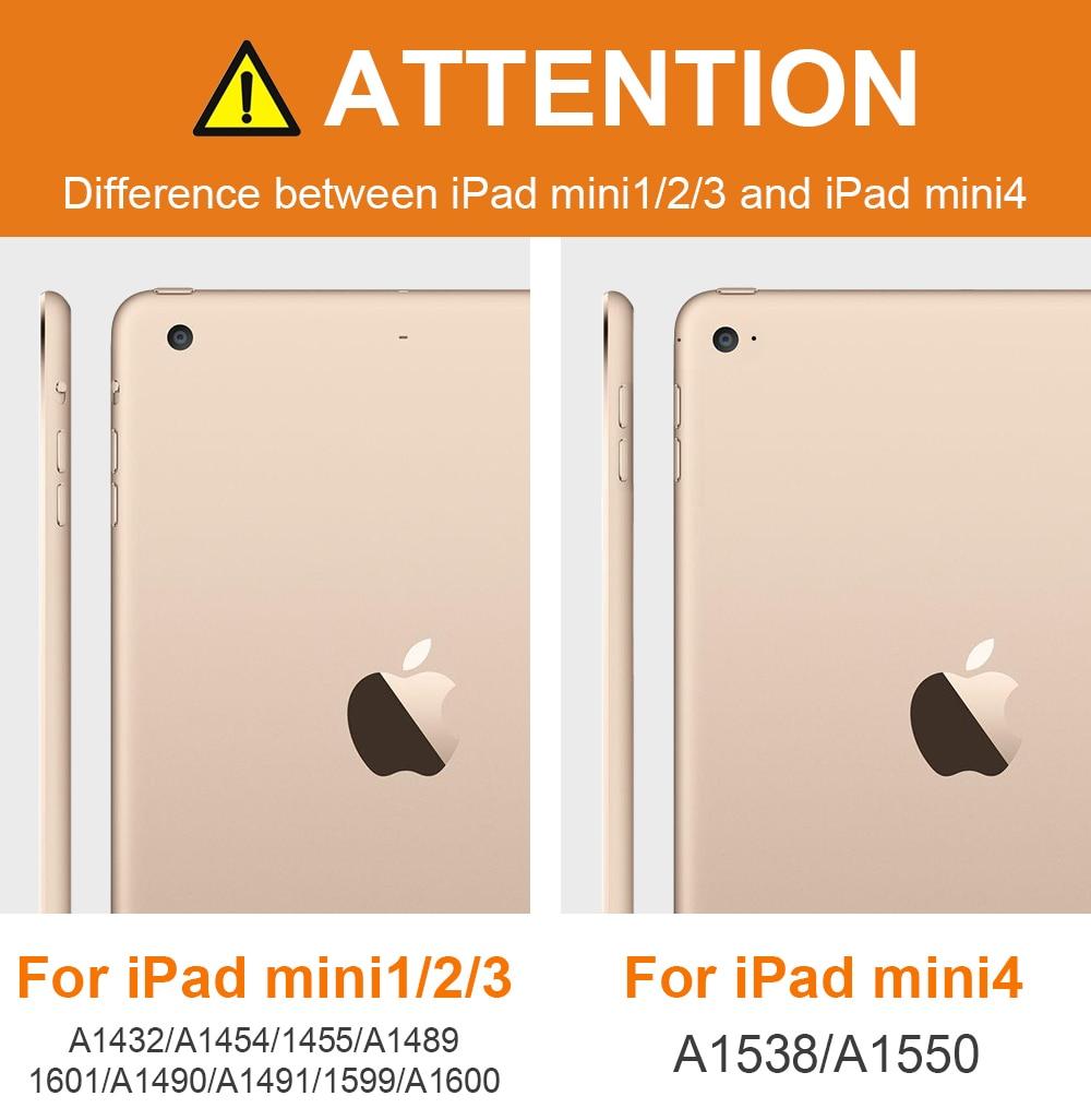 Hoesje voor iPad Mini 4 3 2 1 Case PU-leder Silicon Soft Back Trifold - Tablet accessoires - Foto 3