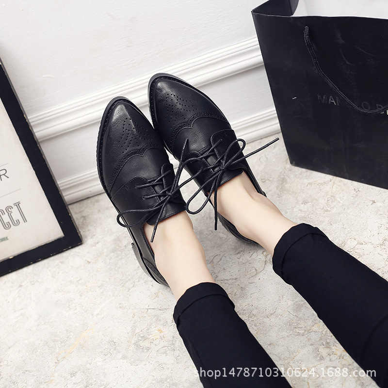 Cuir Pointu En Chaussures Preppy Slip Derby Des gris 2018 Plantes Grimpantes up Appartements Oxford Noir British Sculpture Femme Toe Femmes Bullock Sur Dentelle marron New zxf4UqH