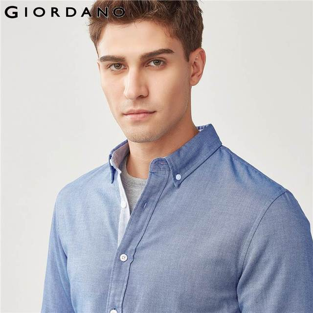 Giordano Men Slim Shirt Long Sleeve Shirts For Men 100% Cotton Interlock Shirt Men Casual Camisa Masculina Chemise Homme 3