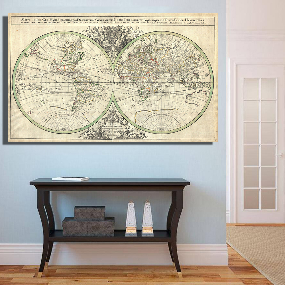 Qkart decorative pictures the retro global world map oil printing qkart decorative pictures the retro global world map oil printing canvas wall art home decor no framed in painting calligraphy from home garden on gumiabroncs Choice Image