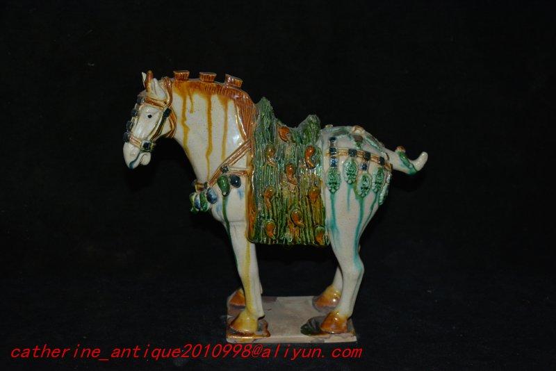 Rare Tang Dynasty(618--907)Tang three-color porcelain horse statue,TANG Horse,#01,Free shipping