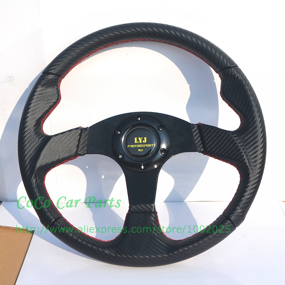 350mm Flat Style Carbon Look Racing Steering Wheel