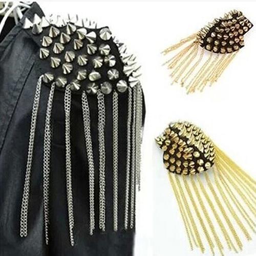 Broche de rebite com borla, epaulet, ombro, marcação, unissex, punk, joias, unissex, rebite, broche fritado, joias, decoração de joias