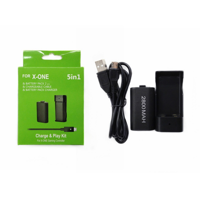 2 x 2800mAh Rechargeable Batteries Pack + Charging Battery Station Dock + USB Charger Cable for Xbox One Wireless Controller2 x 2800mAh Rechargeable Batteries Pack + Charging Battery Station Dock + USB Charger Cable for Xbox One Wireless Controller