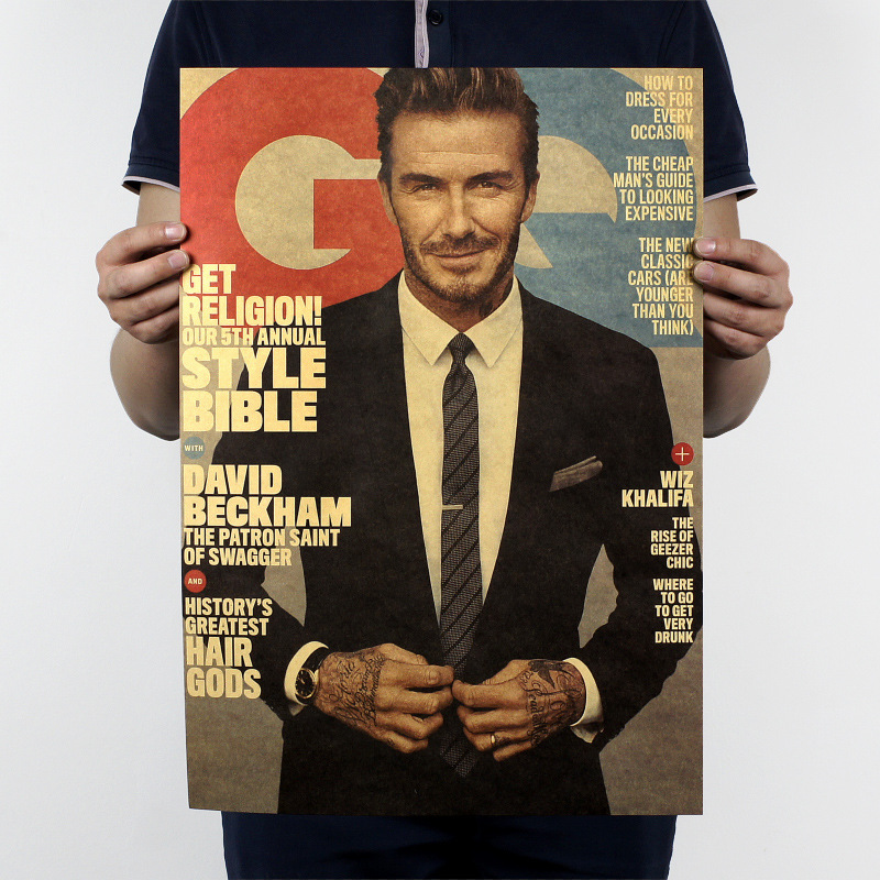 David Beckham B style /soccer football star/kraft paper/Cafe/bar poster/ Retro Poster/decorative painting 51x35.5cmFree shipping