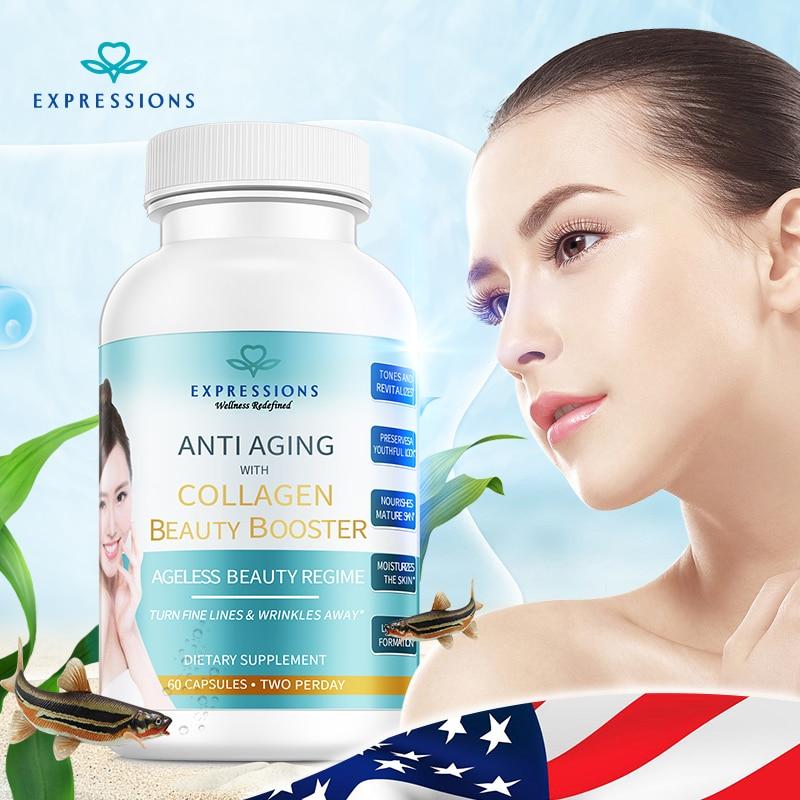 60pcs/bottle Anti Aging Collagen Ageless Beauty Vitamin C Moisturizer Skin Care Hyaluronic Acid Essence Anti Wrinkle Face Care