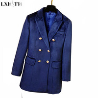 LXMSTH New Autumn Winter Fashion Double Breasted Velvet Blazer Women Golden Buttons Zipper Formal Slim Long Blazers Blue Green
