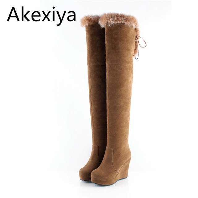 5a1a8c71d Akexiya Black Winter Boots Women 2017 New Arrival Wedges Over The Knee  Boots High Heels Scrub Rabbit Fur Snow Boots Female