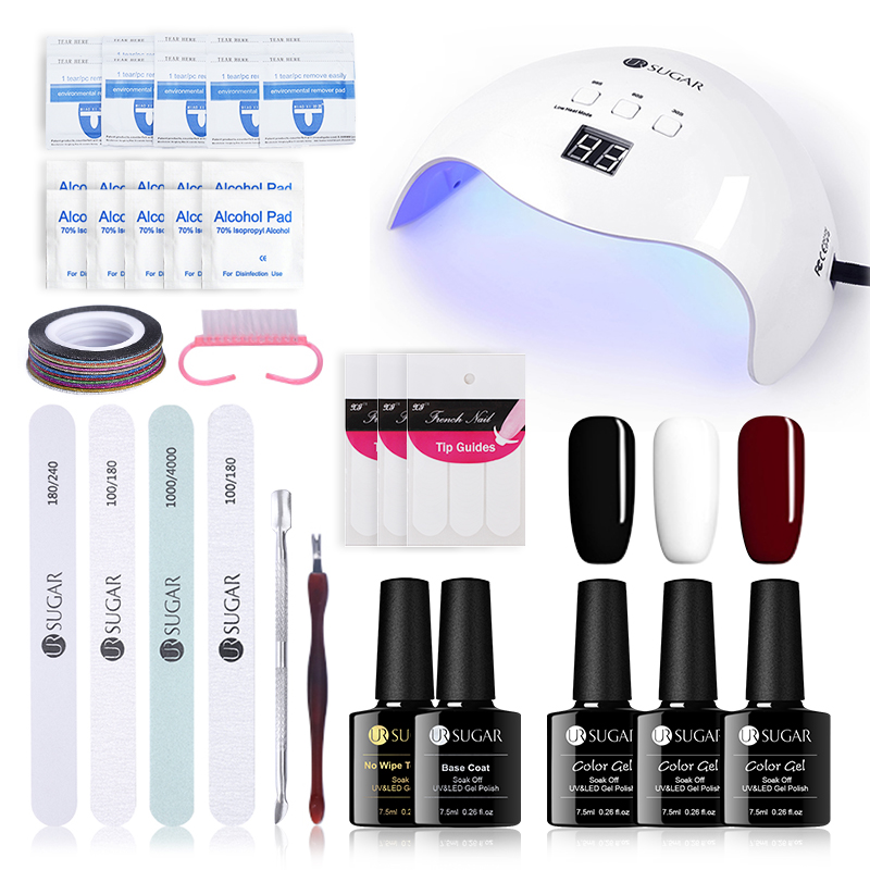 UR SUGAR Nail Art UV Gel Polish Set 40W Curing UV LED Lamp Nail File Buffer Cuticle Pusher Sticker Manicure Gel Nail Polish Kits fwc 1 sheets nail sticker butterfly summer colorful water transfer nail decorations uv gel polish diy decals
