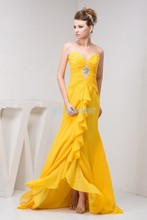 free shipping 2014 design new arrival hot custom crystal evening gown luxury real photo small train yellow chiffon dress