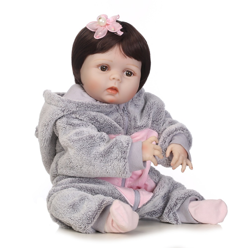 NPKCOLLECTION full silicone bebe bonecas lifelike baby girl with lovely stress kids brithday gift silicone reborn baby dolls