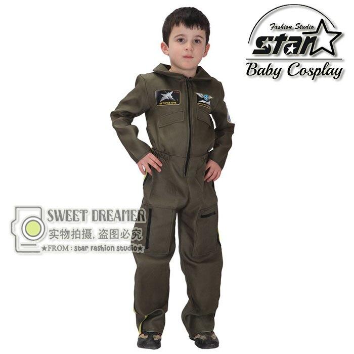 Kids Boys Pilot Costume Cosplay Halloween Set for Children Fantasia Cute Game Uniforms Boys Military Air Force Jumpsuit