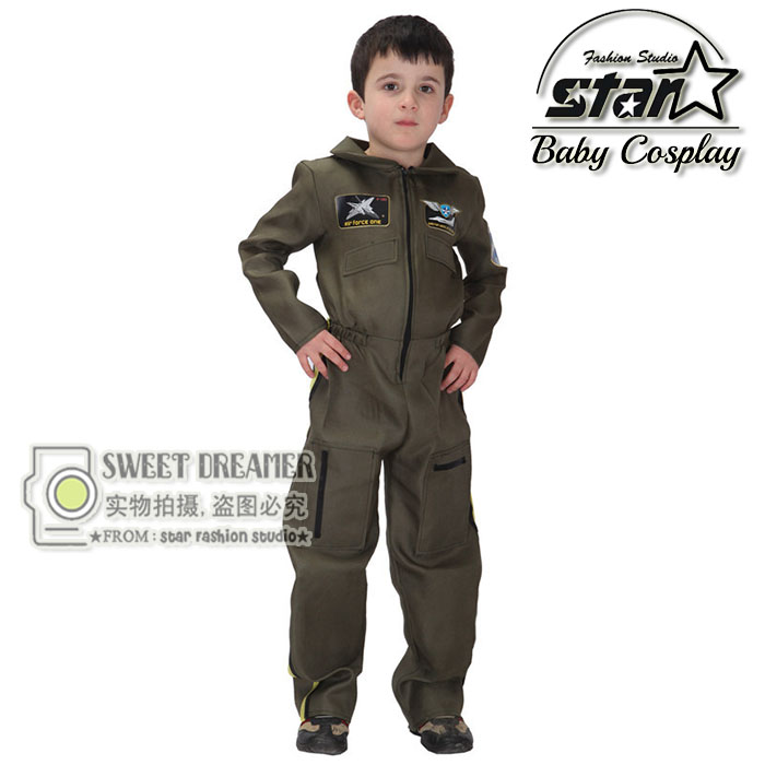 Kids Boys Pilot Costume Cosplay Halloween Set for Children Fantasia Disfraces Game Uniforms Boys Military Air Force Jumpsuit halloween costumes for children boys kids cosplay costume fantasia disfraces game uniforms kids clothes set